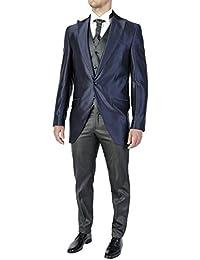 FB CLASS Abito da Sposo Completo Uomo Sartoriale Tight Blu Vestito Gilet e  Cravatta 100% 149adbb01cc