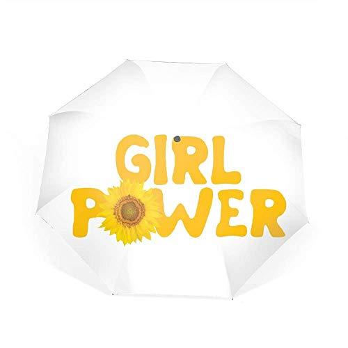 Qialia Girl Power Travel Umbrella, Automatic Folding Umbrella, Compact Rain Umbrella Auto Open Close
