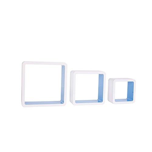 Rebecca Lot de 3 Cube Etagères Mural Cube Bois Laqué Blanc Brillant Kornblumenblau (Cod. re4428)