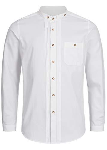 Stockerpoint Trachtenhemd OC-Fredi | Weiss mit Stehkragen| Regular Fit (L, Weiß)