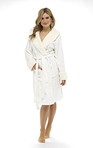 CityComfort Luxus Bademantel Damen Super Soft Robe mit Fell ...