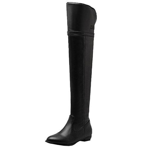 HooH Damen Thigh High Stiefel Einstellbar Gurt Schnalle Ritter Stiefel Flach Overknee Stiefel Schwarz 43 EU (High Black Knee Pu Boots)