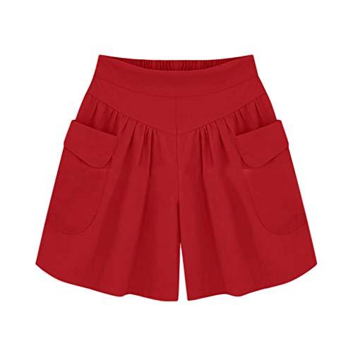 KUDICO Damen Sommer Shorts, Hohe Taille Kurze Ranger Hose Badeshorts Jagdhose Feste Freizeithose für den Außenbereich Anglerhose Strandhose Sporthosen mit Tasche(rot, Large)