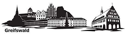Wandtattoo Skyline Greifswald XXL Text Stadt Wand Aufkleber Wandsticker Wandaufkleber Deko sticker Wohnzimmer Autoaufkleber 1M169, Skyline Größe:Länge 120cm