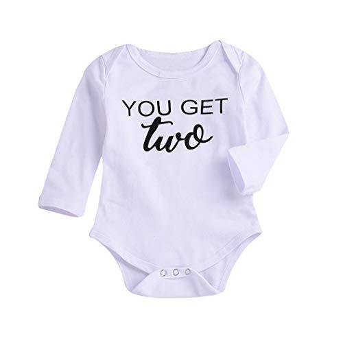 Babybekleidung Rosennie Kleinkind Kinder Baby Junge Brief Druck Strampler Spielanzug Overall Mode Baby Kleidung Outfit Set Kinderkleidung Solid Bekleidungssets Babyanzug(Weiß)