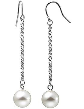 Heideman Damen Ohrringe Perlohrhänger mit Erbskette silber farbend matt aus Edelstahl mit 10mm Perle weiß von...