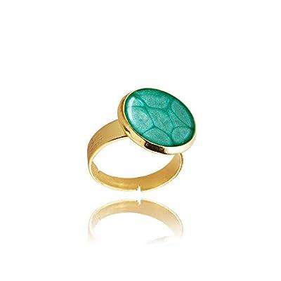 Style Classique Petites Bague plaque Or de couleur Turquoise; Cadeau Humour Fête pour Femme; Réglable, Design Diamètre 1.4cm