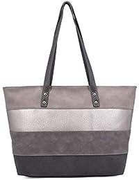 ce329534e2fdc CRAZYCHIC - Damen Große Top Griff Tasche - Tote Handtasche Patchwork - PU  Leder Streifen -
