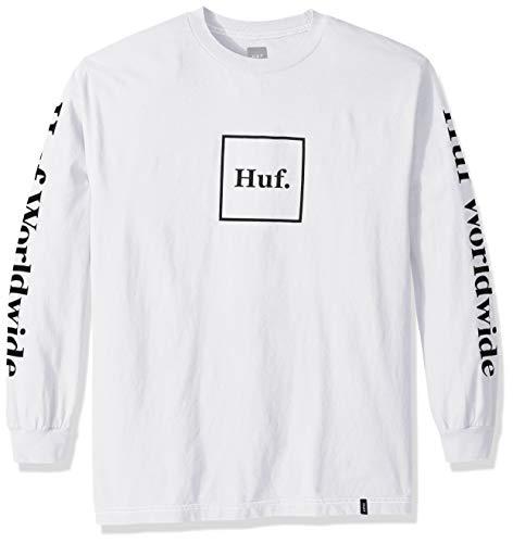 HUF Herren Domestic LS Tee T-Shirt, weiß, Groß
