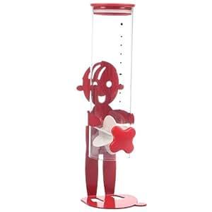 Distributeur à Céréales - En verre et Métal - Couleur Rouge