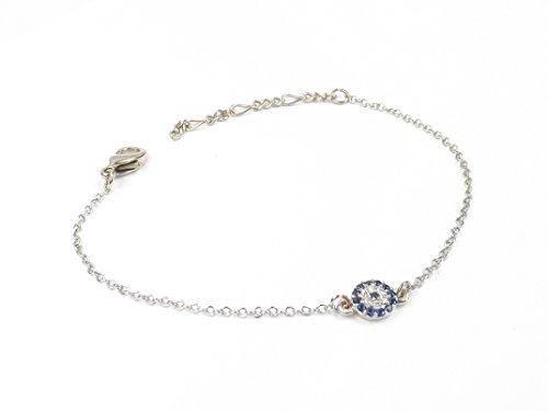 Armband Armkette Armreif - Böser Blick Kette blaues Auge Türkisch Nazar Boncuk Evil Eye (Silber)