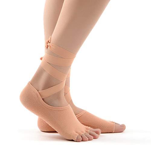 Jcy Calcetines De Yoga, Calcetines De Cinco Dedos con Calcetines De Grano, Calcetines Abiertos De Baile, Calcetines De Yoga con Cordones, Cinco Pares (Color : Beige)