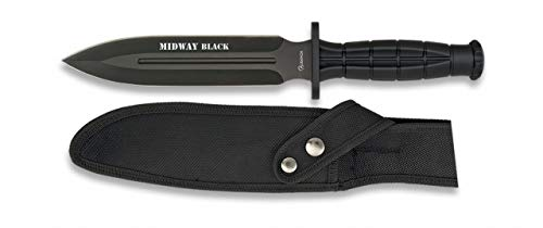 Albainox - 32287 - Cuchillo Supervivencia ALB. Midway Black. 18 - Herramienta para Caza, Pesca, Camping, Outdoor, Supervivencia y Bushcraft