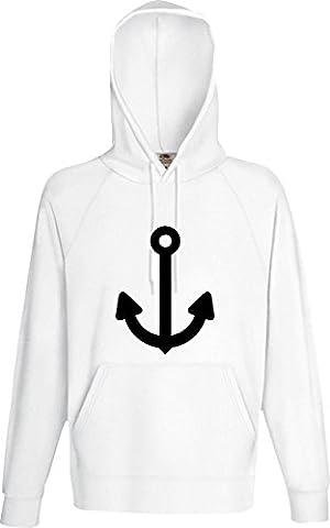 Männer Kaupuzensweatshirt; Anker, Schiff, Seemann; Farbe weiss, Größe L