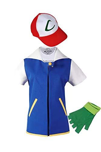 thematys Ashkostüm Ash Ketchum Kostüm-Set 3-teilig für Herren - Jacke, Mütze & Handschuhe perfekt für Fasching, Karneval & Cosplay - Einheitsgröße - Pikachu Kostüm Karte