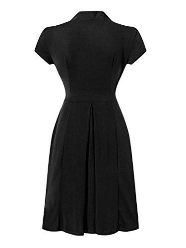 E-Girl EM113818D Vintage pin-up 50's robe de soirée,bal cocktail Rockabilly Swing,S-XXL Noir