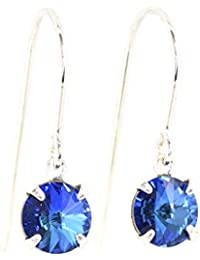 pewterhooter 925 Sterling Silver drop earrings made with sparkling Bermuda Blue crystal from SWAROVSKI. London box.