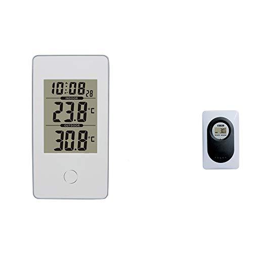 XXLYY Digital Thermometer Hygrometer, Innen AußEn Luftfeuchtigkeit Temperaturmonitor Mit AußEnsensor Wecker Snooze GroßE LCD Max/Min Rekorde Haken KlappstäNder Haus KüChe Schlafzimmer, White -