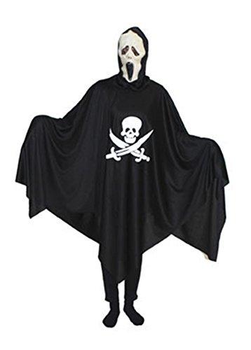 Fancy Ole - Herren Männer Halloween Karneval Kostüm Geist-Poncho, Piraten Robe Skelett Scream mit Maske, One Size, Schwarz