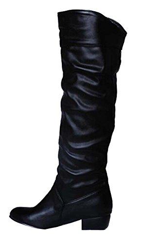 Big Taille automne hiver cuir souple PU bottes de neige bottes plates femme 34.5-41.5 Noir