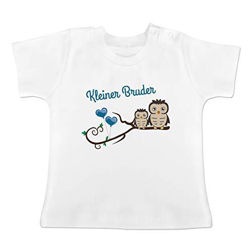 Geschwisterliebe Baby - Kleiner Bruder süße Eulen - 1-3 Monate - Weiß - BZ02 - Baby T-Shirt Kurzarm
