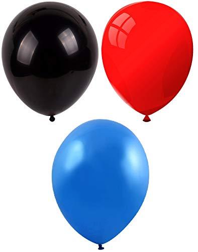 INERRA Globos - Pack of 75 Mezclado (25 X Negro & 25 X Rojo & 25 X Azul) Látex 10' For Helio o Aire