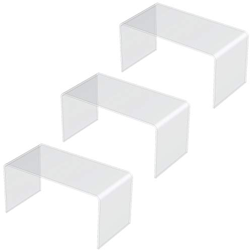 3units of 20x10x10cm Perspex Acrylic Back of Display Cabinet Stand Riser 3mm Thick, Max Load 0.75kg/Stand