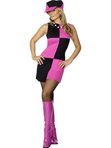 60er Kostüm Jahre Swinging - Luxuspiraten - Damen Frauen Swinging Sixties Kostüm mit 60er Jahre Kleid und Mütze, perfekt für Karneval, Fasching und Fastnacht, M, Pink