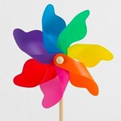 CIM Windspiel - Moulin 22 Rainbow - UV-beständig und wetterfest - Windrad: Ø22cm, Standhöhe: 56cm - fertig aufgebaut inkl. Standstab (Rainbow)