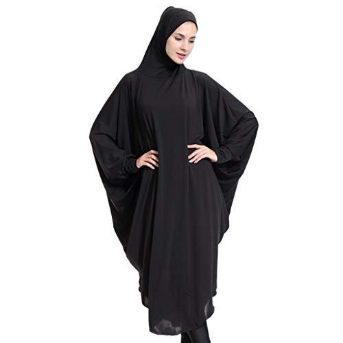 F Fityle Kaftan Túnica Vestido Árabe Musulmán Abaya Una Pieza Arriba Hijab Toga de Mujer Traje de Halloween - Negro, METRO