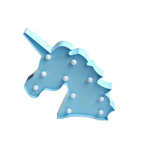 Kailya Kinder Nacht Beleuchtung LED Einhorn Kopf Beleuchtung Dekorativ Tier Beleuchtung Schreibtisch Lampen Innen Beleuchtung (Blau) -