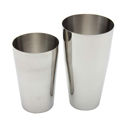 PETSOLA 2pcs Professionelle Cocktail Shaker Edelstahl Kappe, Martini Shaker Boston Mixer Barware Bar Mixing Zinn Shaking Dosen Spülmaschinenfest - Silber, 800 / 600ml (Bar Mixing-dosen)