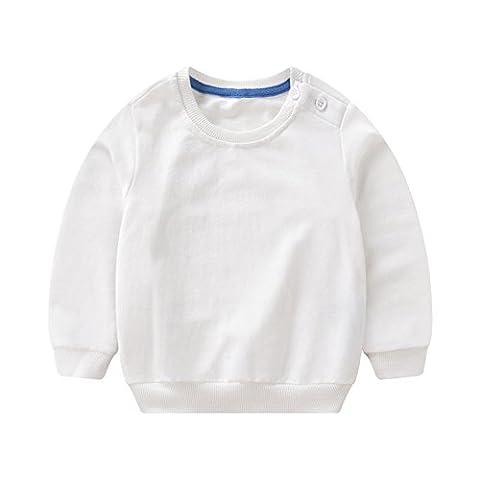 PZJ® Enfants Sweat-shirts à Manches Longues, Couleur unie Col Rond Tops, Automne T-Shirt Garçon et Filles Pullover chaud occasionnels Sweatshirt, Bleu/ Orange/ Rose