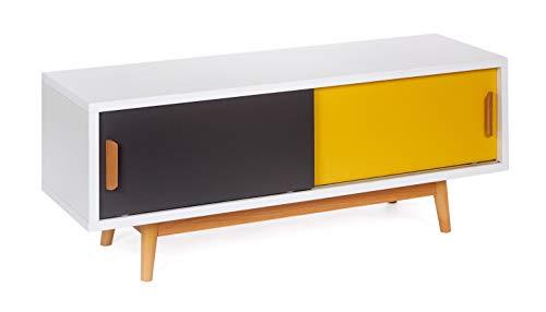 ts-ideen Meuble Bas TV Lowboard Sideboard Étagère Style Rétro Shabby Blanc Portes Glissantes Gris Jaune