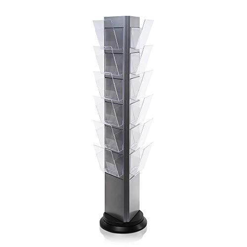 Prospektständer Drehbar - 360 Grad Werbeträger von Mydisplays - 21 Fächer - Silber - Hochwertige...