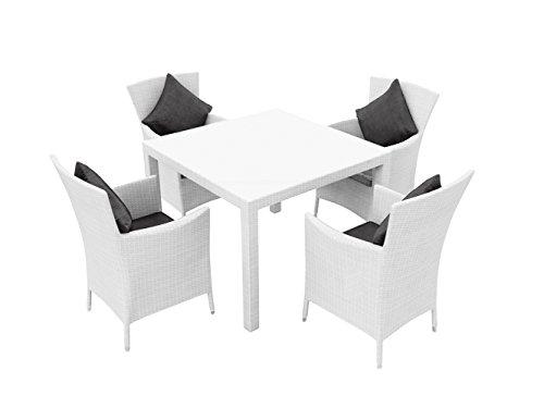 ARTELIA - Ceres S Polyrattan Essgruppe, Gartenmöbel-Set für Garten, Terrasse, Wintergarten und Balkon, Sitzgruppe weiß