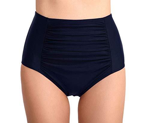 Ecupper Damen Bikini Bottom Slip High Waist Ruched Badeshorts Badeslip Bikinihose Navy DE40-42 - Volle Deckung Bikini Nylon