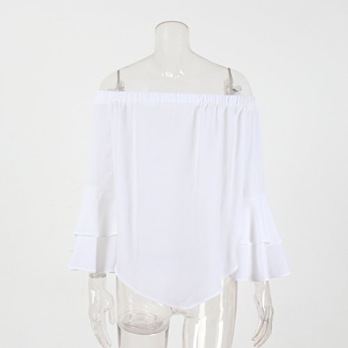 NiSeng Donna Camicetta Maglietta Spalle Scoperte Manica Lunga Blusa Elegante Casual Blusa Chiffon Top Bianca