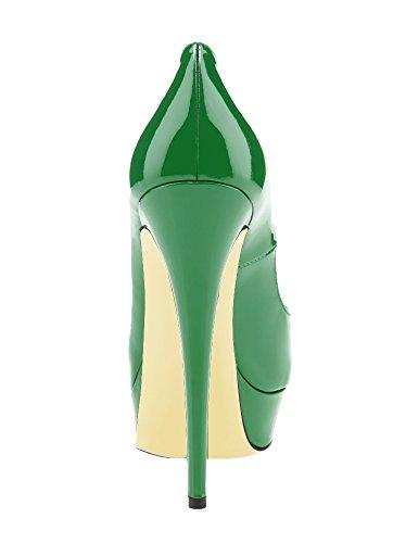 Guoar , Escarpins peep-toe femme Vert
