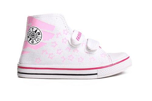 Mädchen Sneaker Schuhe Größe 24-33 Stoffturnschuhe Skater Schuhe weiß rosa schwarz Kinder Schuhe Weiß-rosa