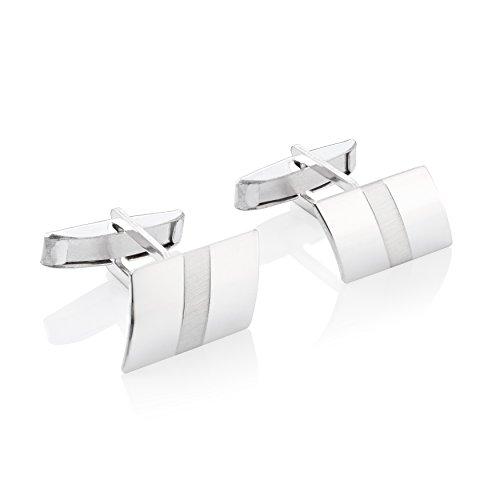 STERLL Herren Manschettenknöpfe Silber Sterlingsilber Glänzend mit Mattem Streifen Schmucketui Kleines Geschenk für Männer
