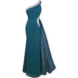 Angel-fashions Mujer Un Hombro Vestido de Noche Plisado Large Verde Oscuro