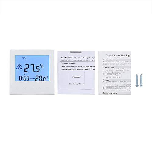 Digital Thermostat, Smart WIFI Programmierbarer Thermostat Digital LCD Display Drahtloser Temperaturregler(Weiß) -