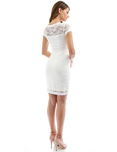 PattyBoutik femmes bouchon de col carré robe en dentelle à manches Blanc