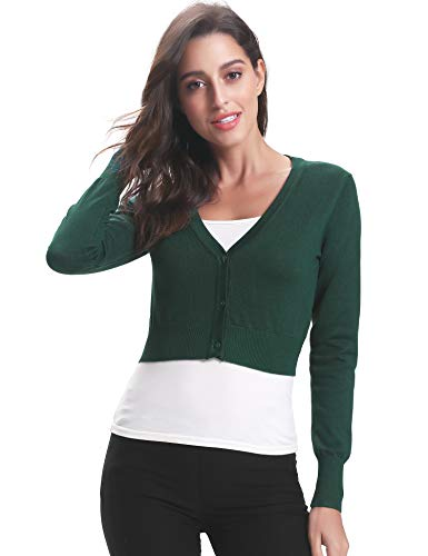 Abollria Damen Bolero Kurze Strickjacke Langarm Cardigan Elegante Jacke V Ausschnitt mit Knopf,Grün,L (Jacke Kostüm Grüne)