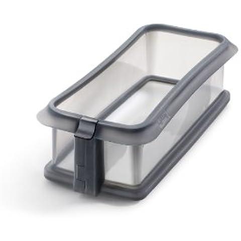 Lékué Duo - Molde rectangular desmontable, 24 cm + plato cerámica, color gris transparente
