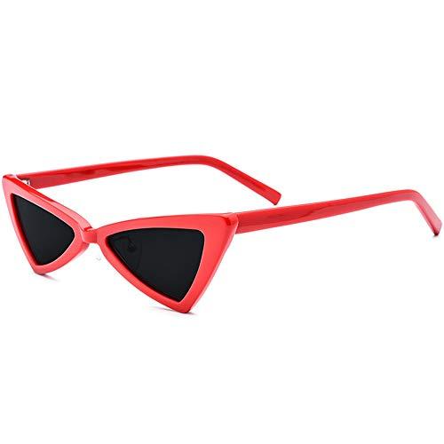 Mode Dreieck Brille weibliche Retro Platte Cat Eye Sonnenbrille grau Objektiv UV400 Schutz Neue kleine Grenze polarisierte Sonnenbrille Brille (Farbe : Red)