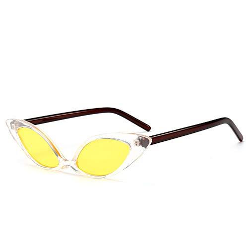 DFBUB Katzenauge Sonnenbrille Europa und die Vereinigten Staaten Trend Persönlichkeit Sonnenbrille Bunte Sonnenbrille weiblich, transparente Box gelb Film