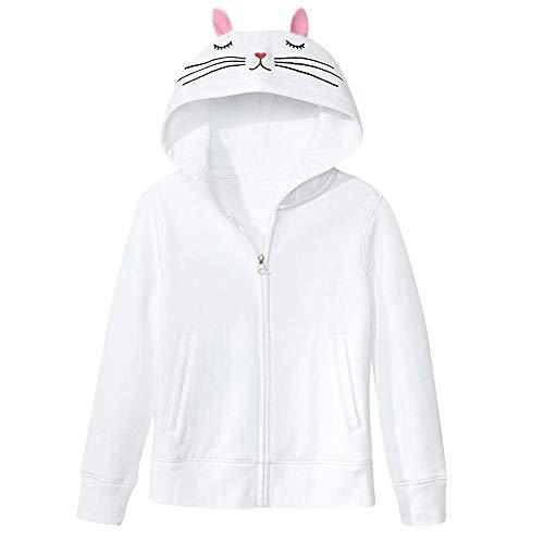 OSYARD Damen Cat Ear Voller Reißverschluss V-Ausschnitt Kapuzenpullover Sweatshirts, Frauen Fashion Solid Cat Ear Mit Kapuze Langarm Jacke Reißverschluss Mantel (M, Weiß)