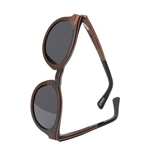 WOLA Damen Sonnenbrille Holz BAUM Brille rund Vollholz und Acetat polarisiert UV400 Ebenholz Unisex Damen M - Herren S